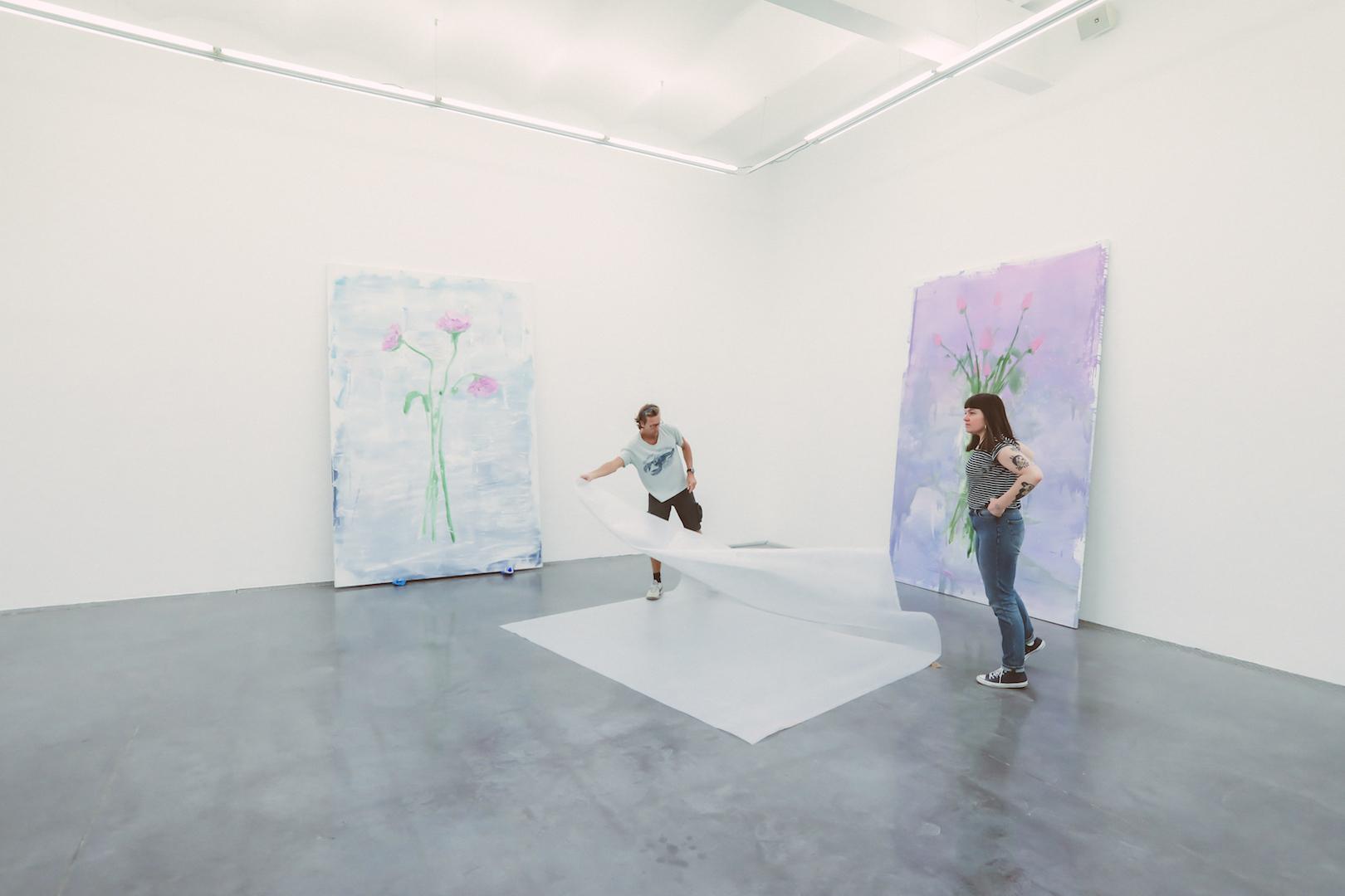 Gregory Forstner 'Des fleurs pour les audacieux' 2021 at FRAC, Montpellier Installation Process