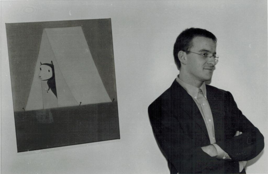 Michael Zink and painting by Yoshitomo Nara, 1997